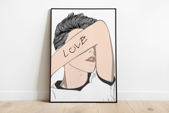 Print on Demand: Wall Art,Man Showing Love Graphic Illustrations By Saydung89