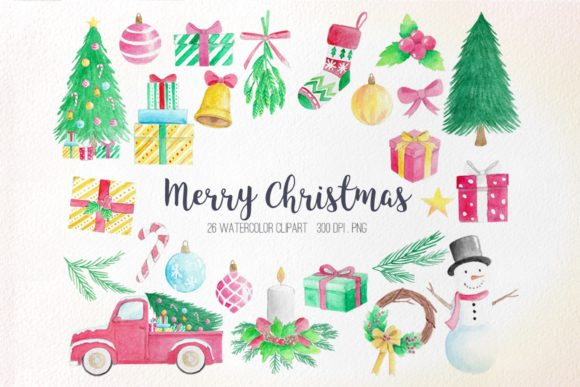 Watercolor Christmas Clipart Graphic Illustrations By peachycottoncandy
