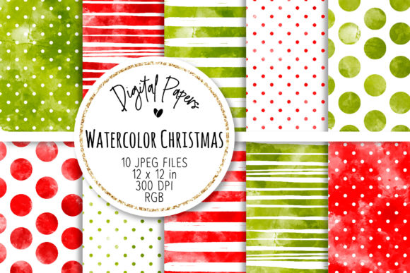 Print on Demand: Watercolor Christmas Digital Papers Set Graphic Backgrounds By loyaarts