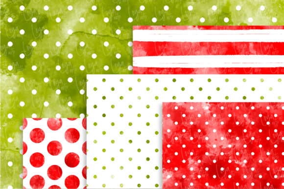 Watercolor Christmas Digital Papers Set Graphic Download