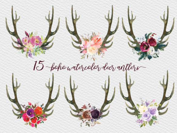 Watercolor Deer Antlers Bundle Graphic Illustrations By Aneta Design