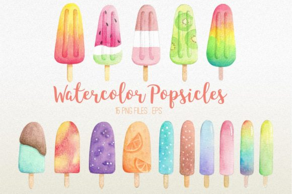 Watercolor Popsicles Clipart Graphic Illustrations By peachycottoncandy