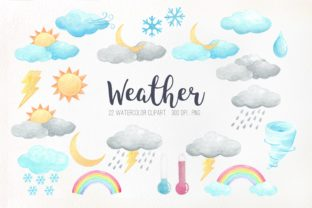 Watercolor Weather Clipart Graphic Illustrations By peachycottoncandy