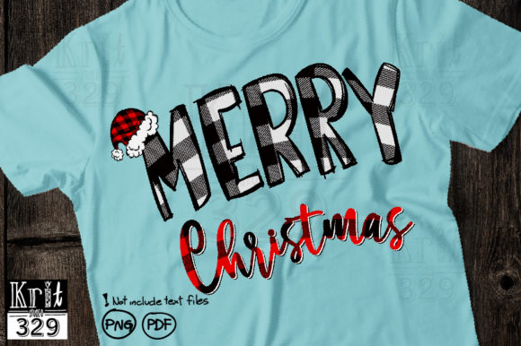 White Buffalo Plaid Merry with Santa Hat Graphic Print Templates By Krit-Studio329