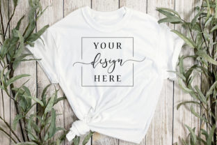 White T-Shirt Mockup in Rustic FarmHouse Graphic Product Mockups By SlyDesignStudio
