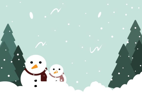 Print on Demand: Christmas Snowman and Tree Graphic Illustrations By bentestudio