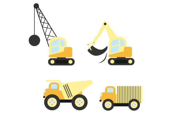 Print on Demand: Construction Vehicle Shape Collection Graphic Illustrations By curutdesign