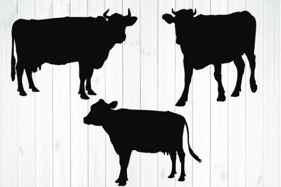 Print on Demand: Cow Silhouette Graphic Illustrations By rayan