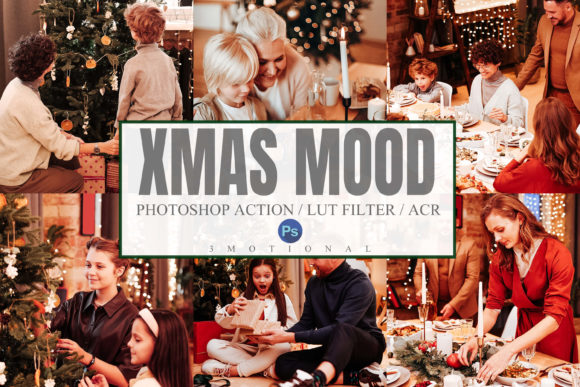Print on Demand: 10Xmas Mood Photoshop Actions ACR LUT Graphic Actions & Presets By 3Motional