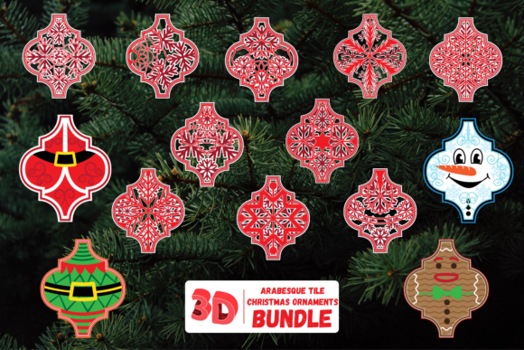 3D Arabesque Tile Christmas Ornaments Graphic Crafts By SvgOcean