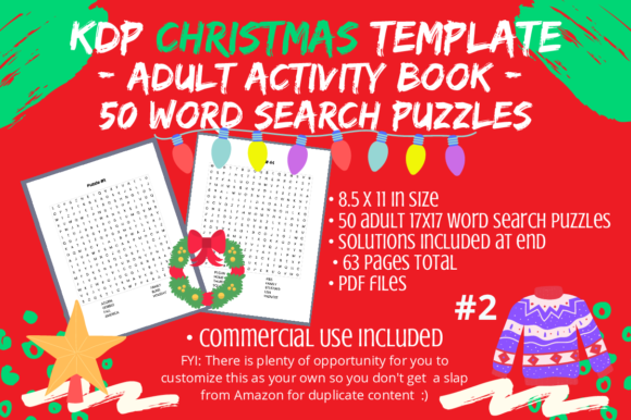 Print on Demand: 50 Adult Christmas Word Searches #2 Graphic KDP Interiors By Tomboy Designs