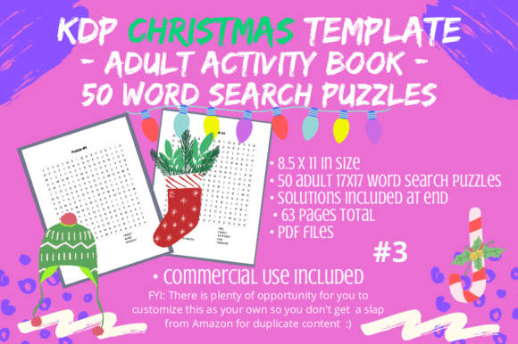 Print on Demand: 50 Christmas Adult/Teen Word Searches #3 Graphic KDP Interiors By Tomboy Designs