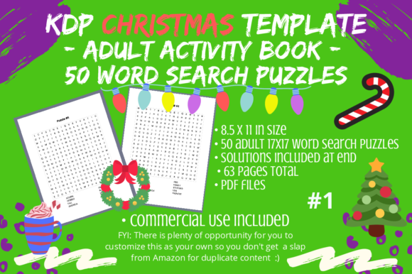 Print on Demand: 50 Christmas Word Search #1 for Adults Graphic KDP Interiors By Tomboy Designs