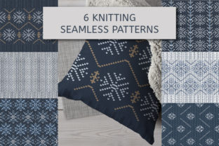 Print on Demand: 6 Knitted Patterns with Snowflakes. Graphic Patterns By kazakova_o