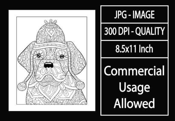 Print on Demand: Adult Coloring Page 12 - Dog Graphic KDP Interiors By design-world