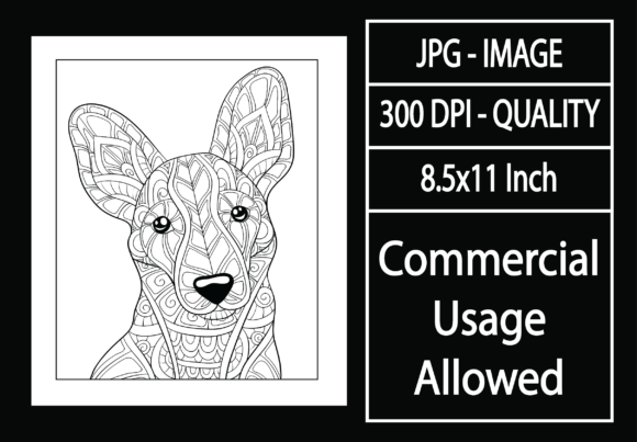 Print on Demand: Adult Coloring Page 17 - Dog Graphic KDP Interiors By design-world
