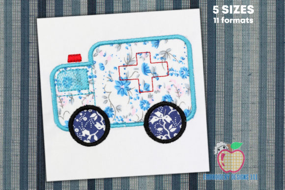 Ambulance Applique Transportation Embroidery Design By embroiderydesigns101