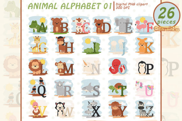Animal Alphabet Clipart, English ABC Graphic Illustrations By clipartfables