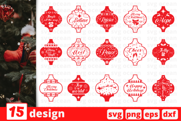 Arabesque Tile Christmas Ornament Bundle Graphic Crafts By SvgOcean