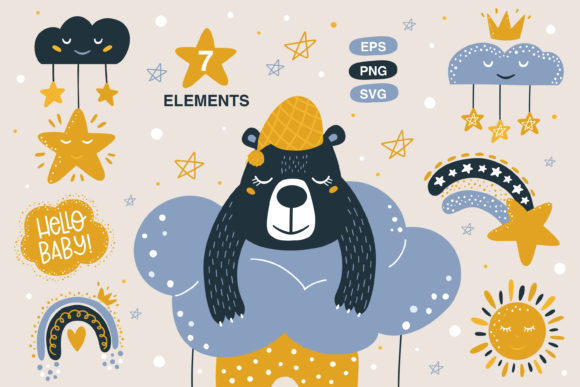 Print on Demand: Baby Animals Clipart, Rainbow and Bear Graphic Illustrations By FindsArtDesign