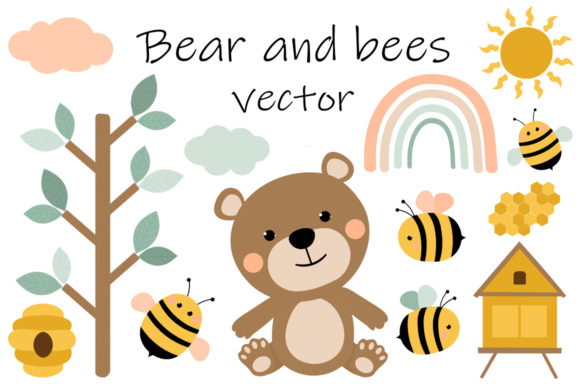 Bear and Bees Vector. Bear Honey Graphic Illustrations By shishkovaiv