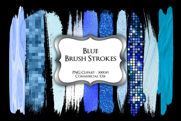 Print on Demand: Blue Brush Strokes PNG Clipart Graphic Illustrations By Party Pixelz