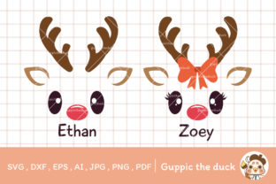 Boy and Girl Reindeer Names Clipart Graphic Crafts By Guppic the duck