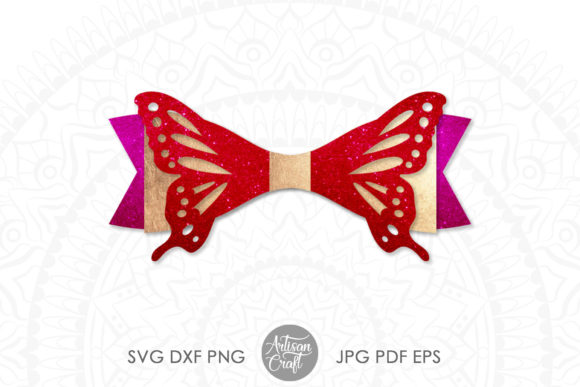 Print on Demand: Butterfly Bow Template Gráfico SVG en 3D Por Artisan Craft SVG