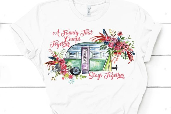 Camping Floral Sublimation Design Graphic Illustrations By Paper switch