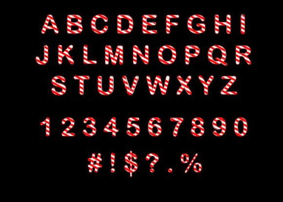 Candy Cane Letters and Numbers Svg Graphic Crafts By RedCreations