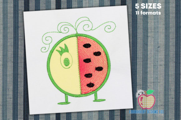 Cartoon Watermelon Applique Food & Dining Embroidery Design By embroiderydesigns101