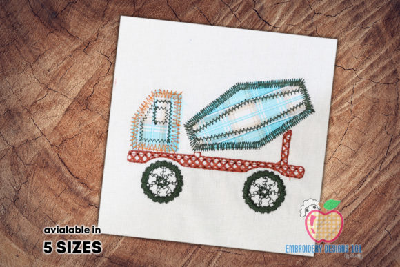 Cement Mixer Truck Transportation Embroidery Design By embroiderydesigns101