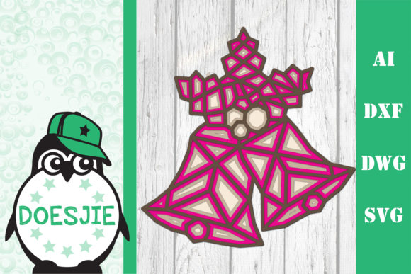 Christmas Bells 3D Layered Polygonal Graphic 3D SVG By doesjie