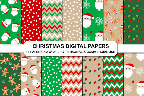 Christmas Digital Pattern Papers Graphic Backgrounds By bestgraphicsonline