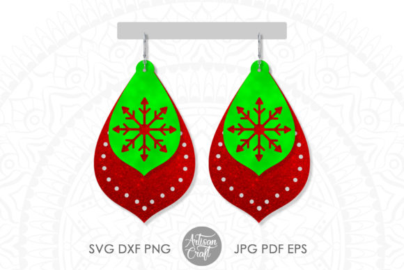 Print on Demand: Christmas Earring Snowflake Cut out Graphic 3D Christmas By Artisan Craft SVG