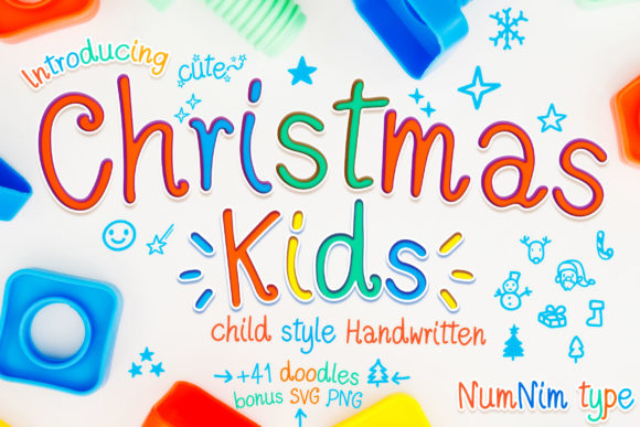 Print on Demand: Christmas Kids Script & Handwritten Font By numnim