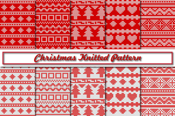 Print on Demand: Christmas Knitted Pattern Graphic Patterns By Mahesa Design