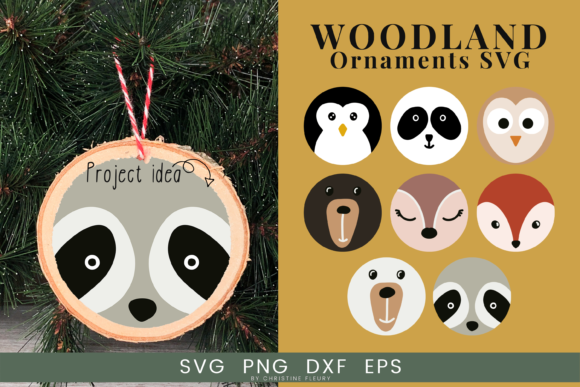 Print on Demand: Christmas Ornaments SVG, Woodland Animal Grafik Plotterdateien von Christine Fleury