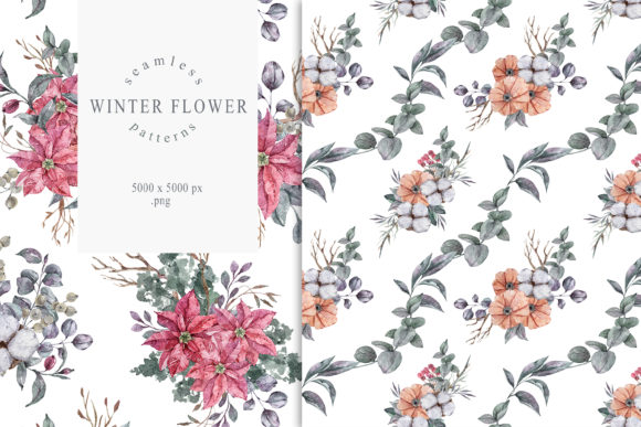 Print on Demand: Christmas Poinsettia Seamless Patterns Graphic Illustrations By Tiana Geo