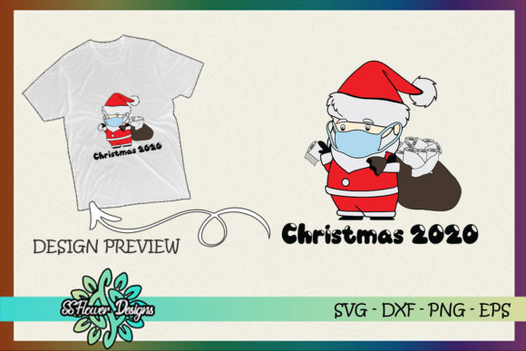 Christmas Santa with Mask Toilet Paper Graphic Print Templates By ssflower