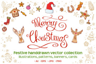 Christmas Set with Festive Handdrawn Elements Graphic Illustrations By AVK graphics