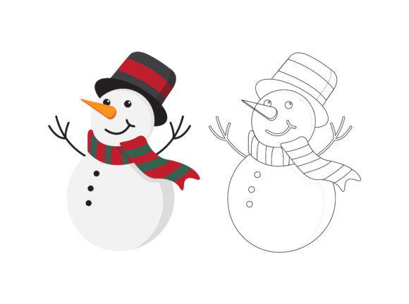 Christmas Snowman Fill Outline Icon Graphic Illustrations By printablesplazza