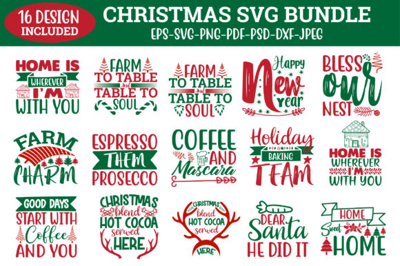 Print on Demand: Christmas Svg Bundle. Graphic Crafts By Design Store Bd.Net