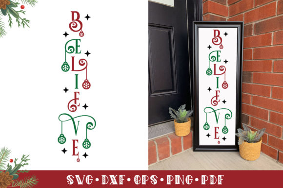Christmas Vertical Sign SVG, Believe Graphic Crafts By CraftlabSVG