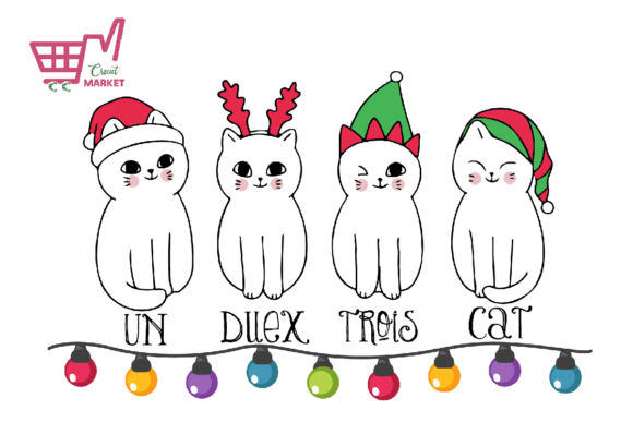 Print on Demand: Christmas White Cats Graphic Crafts By Cricut Market