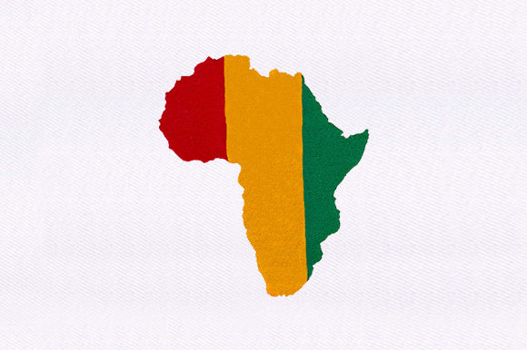 Colored African Map Africa Embroidery Design By DigitEMB