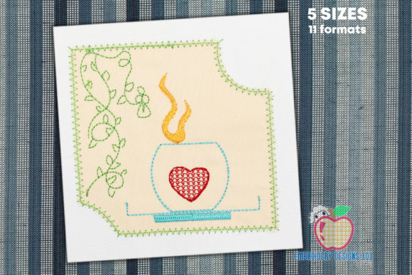 Cup of Coffee with a Heart on It Applique Tea & Coffee Embroidery Design By embroiderydesigns101
