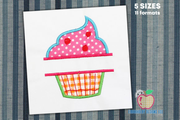 Cupcake with a Name Space Applique Dessert & Sweets Embroidery Design By embroiderydesigns101