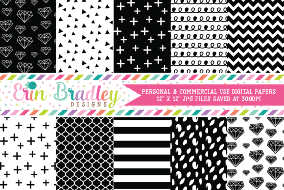 Print on Demand: Digital Papers - Black & White Diamonds Graphic Backgrounds By Erin Bradley Designs