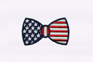 Flag Bowtie Independence Day Embroidery Design By DigitEMB